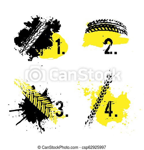 Tire tread marks banners - csp62925997