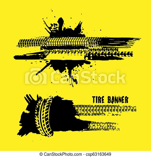 Tire tread marks banners - csp63163649