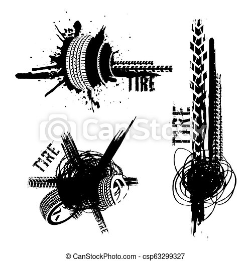 Tire tread marks banners - csp63299327