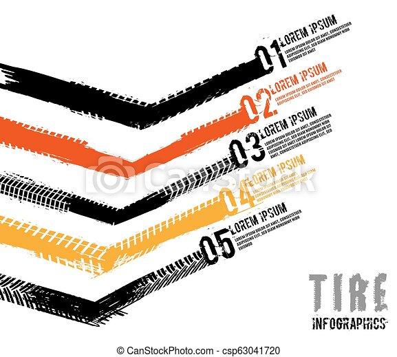 Tire tread marks infographic - csp63041720