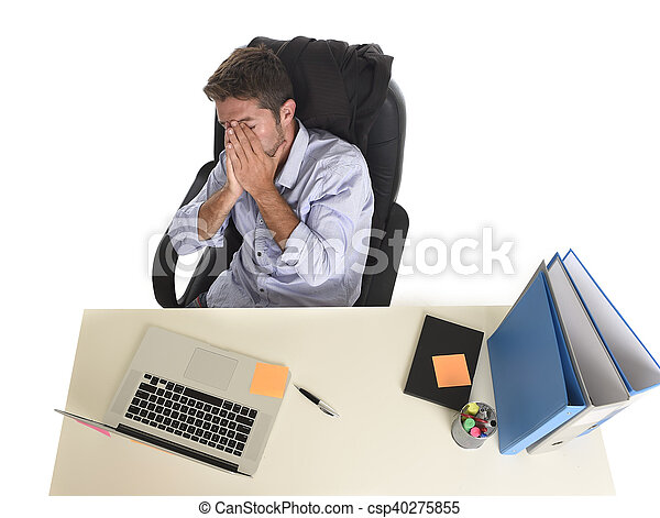 tired and frustrated businessman looking worried face expression suffering  stress at office laptop computer