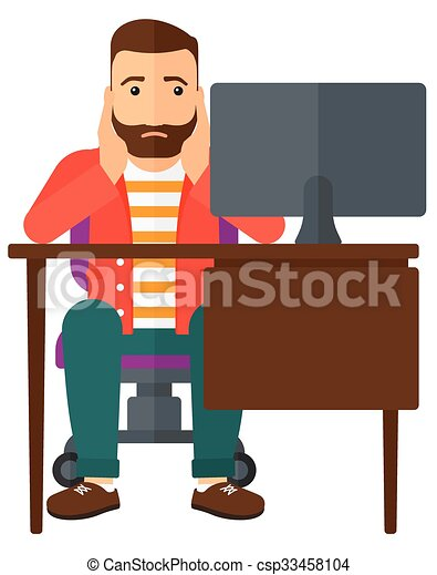 tired employee sitting in office a tired employee sitting vector rh canstockphoto com