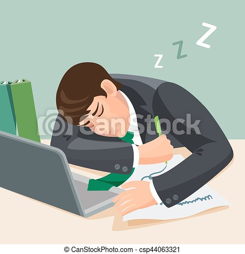 Tired man sleeping at desk. businessman in suit fall ...