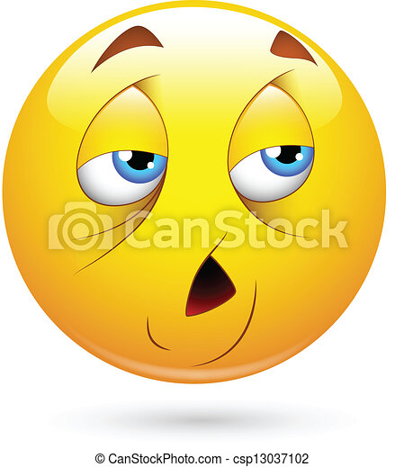 tired smiley face vector illustration of tired smiley character rh canstockphoto com Sick Face Cartoon tired face cartoon images