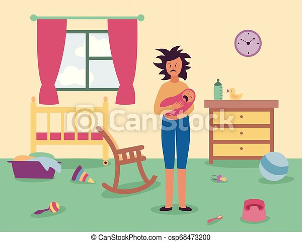 Tired woman stands in messy room holding crying baby flat cartoon style - csp68473200