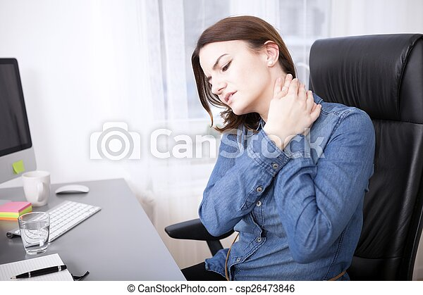 Tired Young Office Girl Holding her Neck - csp26473846