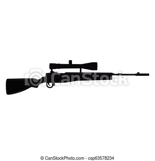 tireur embusqué, silhouette, fusil - csp63578234