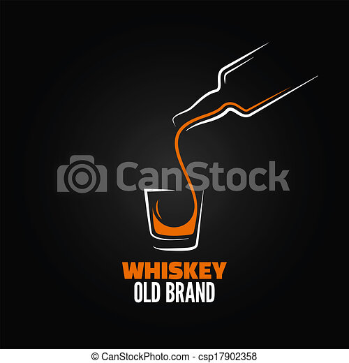 Botella de whisky de vidrio salpicar fondo del menú - csp17902358