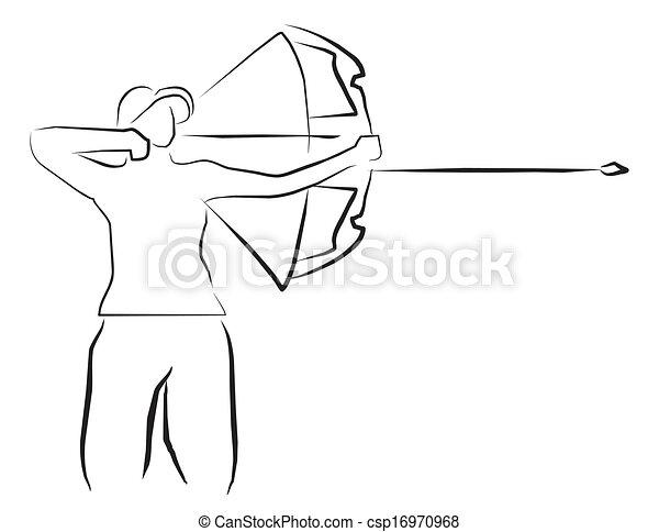 tiro com arco, desporto, ilustração - csp16970968