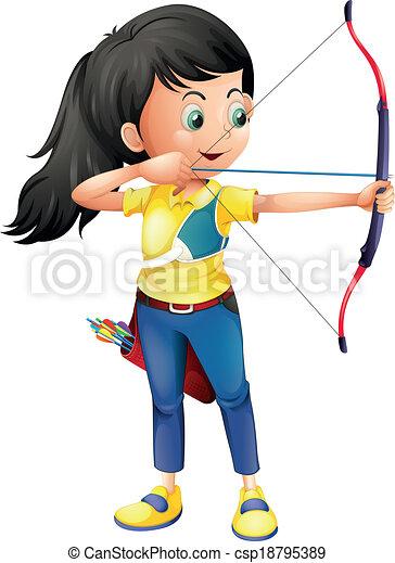 tiro com arco, menina, jovem, tocando - csp18795389