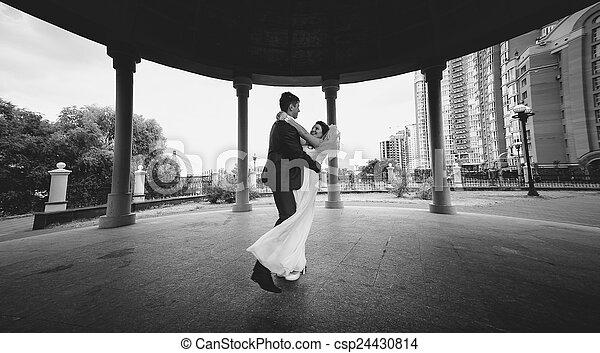 tiro, dançar, alcove, noivo, parque, noiva, monocromático - csp24430814
