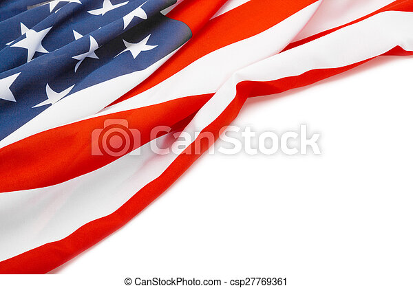 Bandera de EE.UU. con lugar para su texto - tiro al estudio - csp27769361