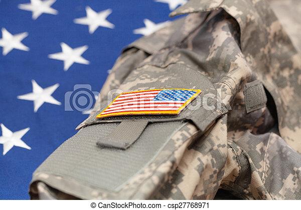 tiro, eua, exército, sobre, -, uniforme, bandeira, estúdio, nacional - csp27768971