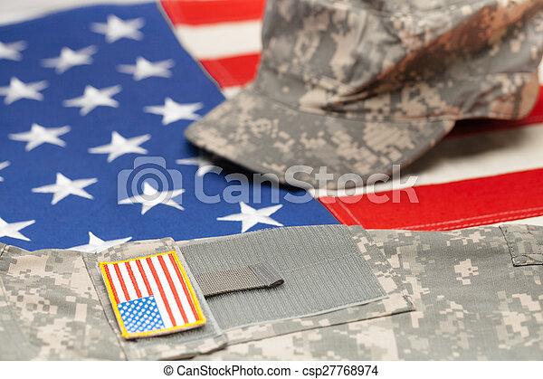 tiro, eua, sobre, -, aquilo, nós, uniforme, bandeira, estúdio, militar - csp27768974
