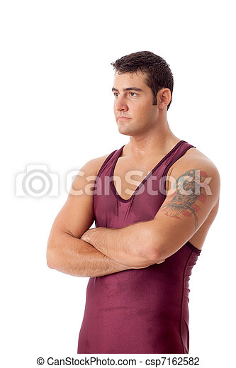 tiro, sobre, jovem, estúdio, adulto, macho, wrestler., white. - csp7162582