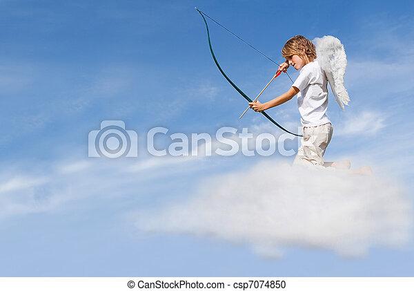 tiroteio, conceito, valentines, cupid, seta, nuvem, dia - csp7074850