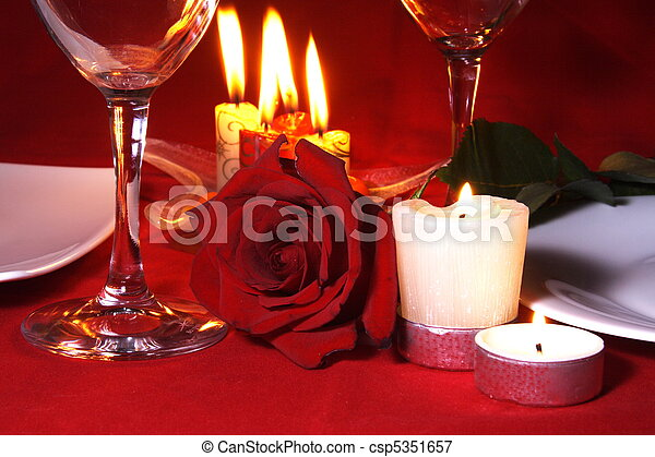 tisch, abendessen, arragement, romantische  - csp5351657