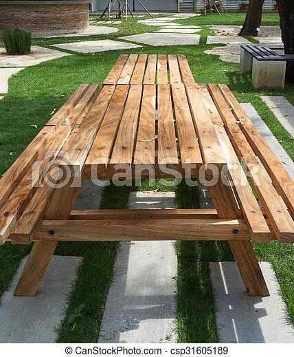 Tisch Holz Bank