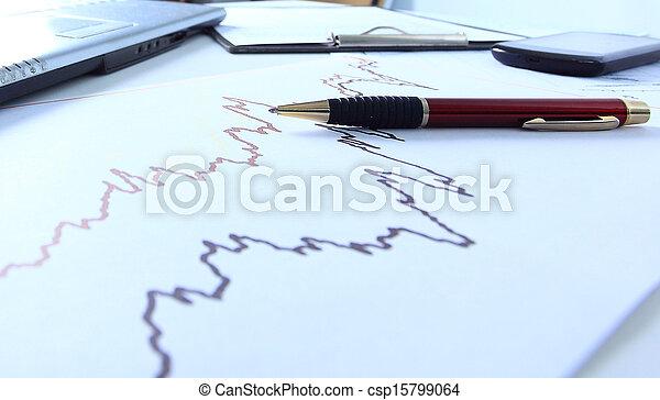 Graphen, Diagramme, Geschäftstisch - csp15799064