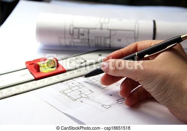 tisch, werkzeuge, architektur - csp18651518