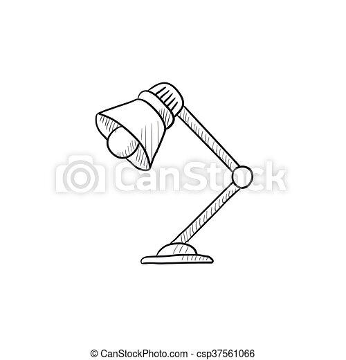 Tischlampe gezeichnet  Clipart Vektorbild von tischlampe, skizze, icon. - website, skizze ...