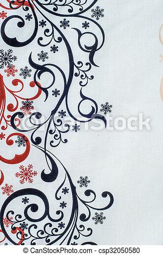 Tissu Fond Glacial Noir Blanc Coton Dessin Rouges Texture