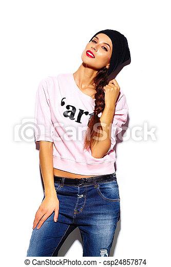 tissu, look., hipster, lèvres, mode, fascination, beau, élevé, rose, modèle, chandail, femme, rouges, élégant, jeune - csp24857874