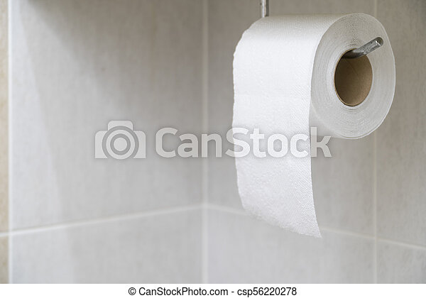 Tissue of white hanging in the bathroom. - csp56220278