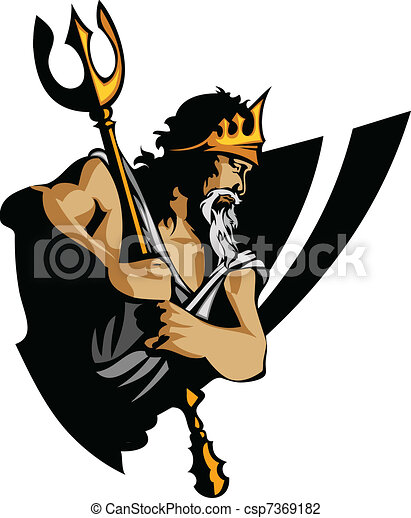Titan Mascot with Trident and Crown - csp7369182