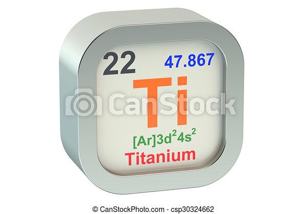 Titanium Element Symbol Isolated On White Background