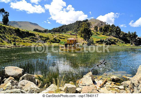 Titicaca lake reed boat - csp17840117