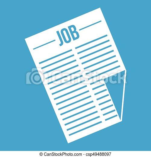 titolo, giornale, lavoro, bianco, icona - csp49488097