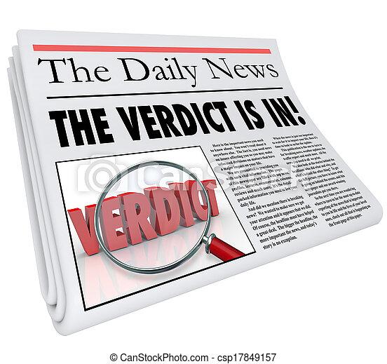 titre, journal, verdict, réponse, jugement, annoncé - csp17849157