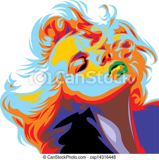 titta, marilyn, flicka, blondin, monroe, lik - csp14316448