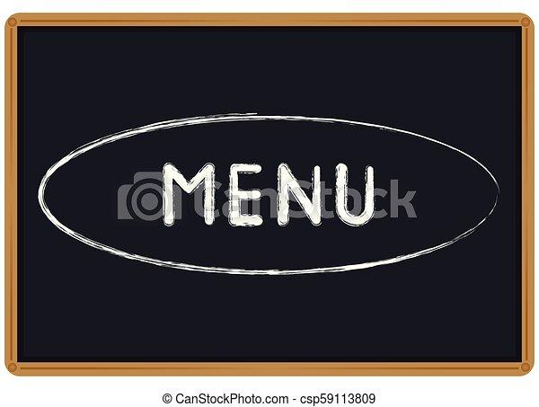 Tiza de Menú escrita en una pizarra - csp59113809