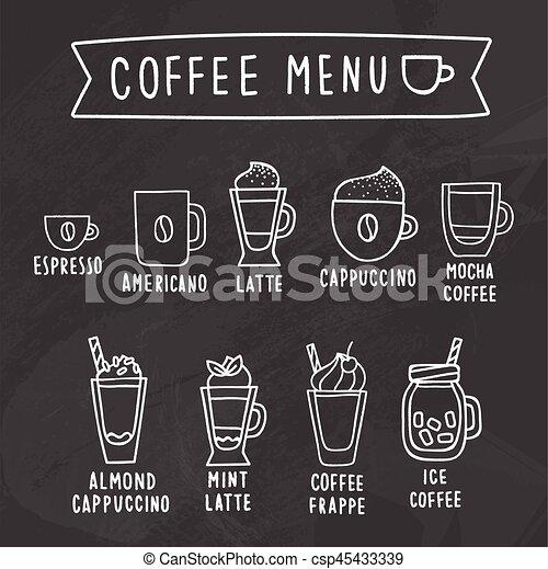 Menú de café. Dibujo de tiza en una pizarra. - csp45433339
