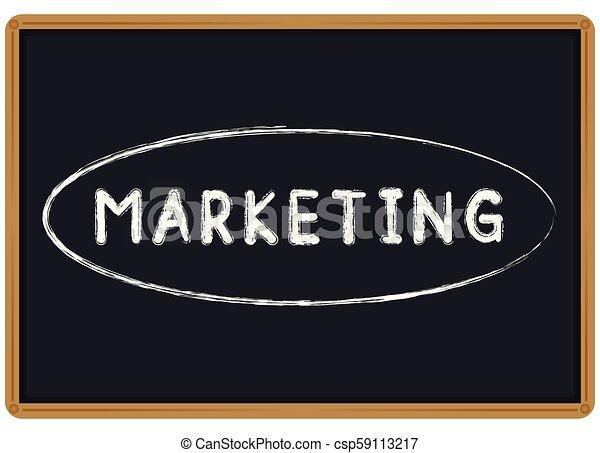Tiza comercial escrita en una pizarra - csp59113217
