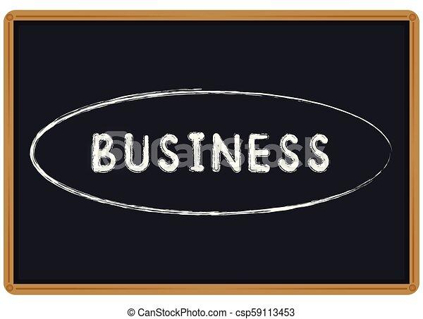 Tiza de Word Business escrita en una pizarra - csp59113453