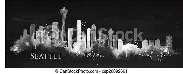 Silhouette chalk Seattle - csp26092661