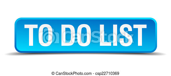 To do list blue 3d realistic square isolated button - csp22710369