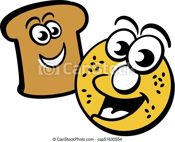 toast and bagel cartoon of a happy bagel and piece of toast rh canstockphoto com bagel clipart black and white bagel graphics clipart