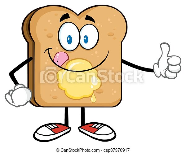 toast bread slice cartoon character licking his lips with vector rh canstockphoto ca toast openclipart toast clipart png