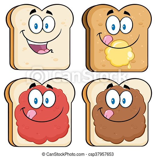 Toast Bread Slice Collection Set - csp37957653