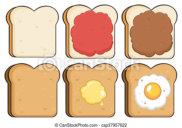 Toast Bread Slice Collection Set - csp37957622