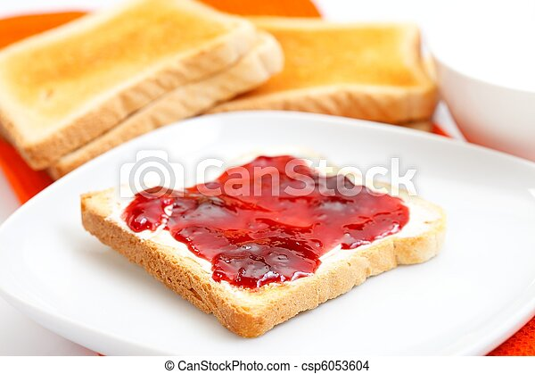 Toast bread with jam on a plate - csp6053604