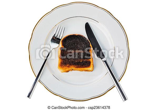 toast, pain, brûlé, tranches - csp23614378