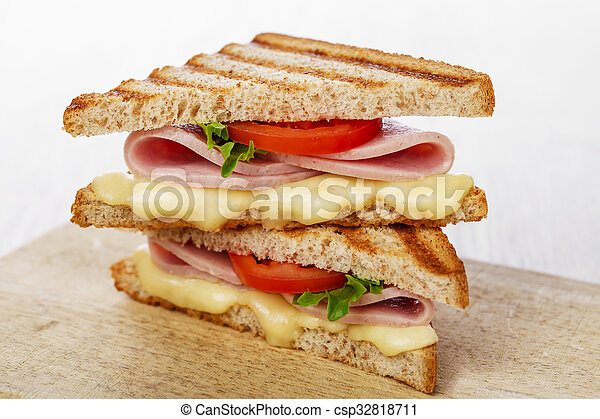toast sandwich grilled ham with che - csp32818711