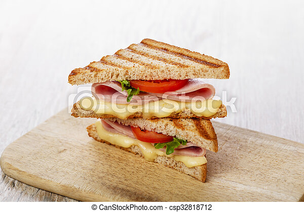 toast sandwich grilled ham with che - csp32818712