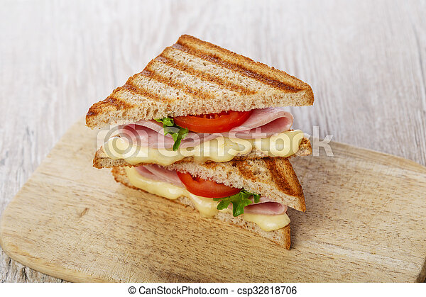 toast sandwich grilled ham with che - csp32818706