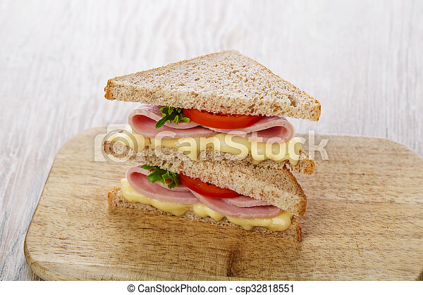 toast sandwich with ham cheese and - csp32818551